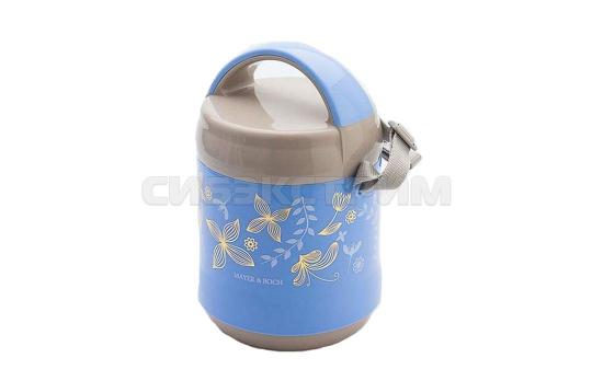 Термос Mayer&Boch 23716 пищевой, пластик, цвет Голубой/серый, 1,2л