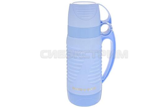 Термос Mayer&Boch 24909 пластик, колба стекло,цвет Синий, 1л