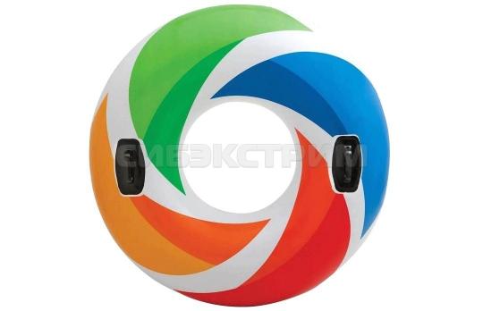 Круг Intex Разноцветные Вихри, с ручками 122 см, от 9 лет