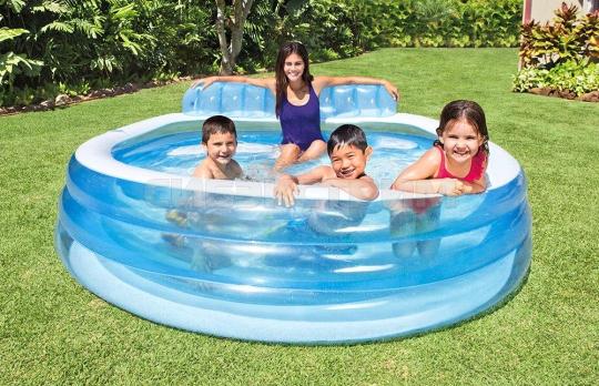 Детский надувной бассейн Intex семейный с диваном и подстаканниками 224Х216Х76см