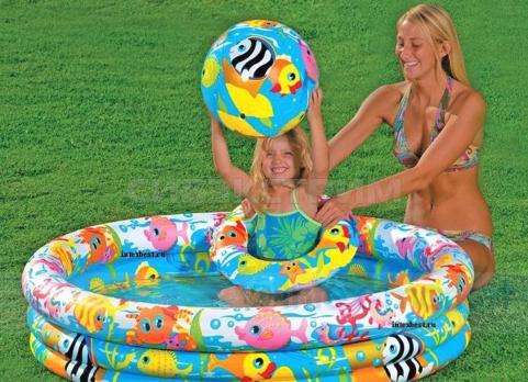 Детский надувной бассейн Intex рыбки 132Х28см
