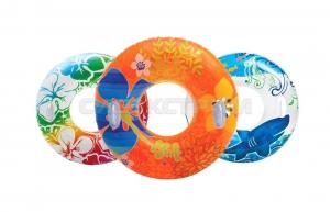 Надувной круг Intex Прозрачный с ручками, 3 вида, 97см