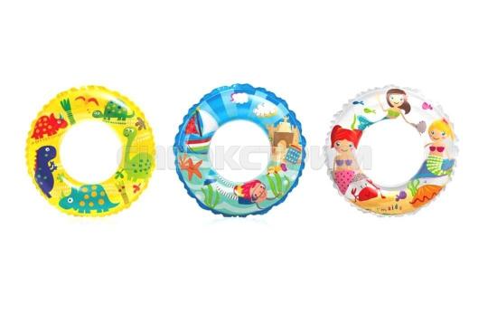 Надувной круг Intex Прозрачный с рисунком 3 вида 61см