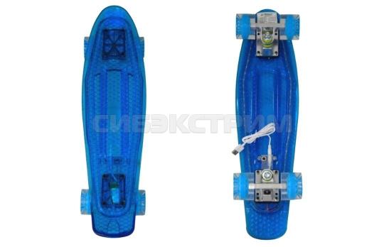 Пенниборд BlackAqua SK-2206PCD синий с подсветкой
