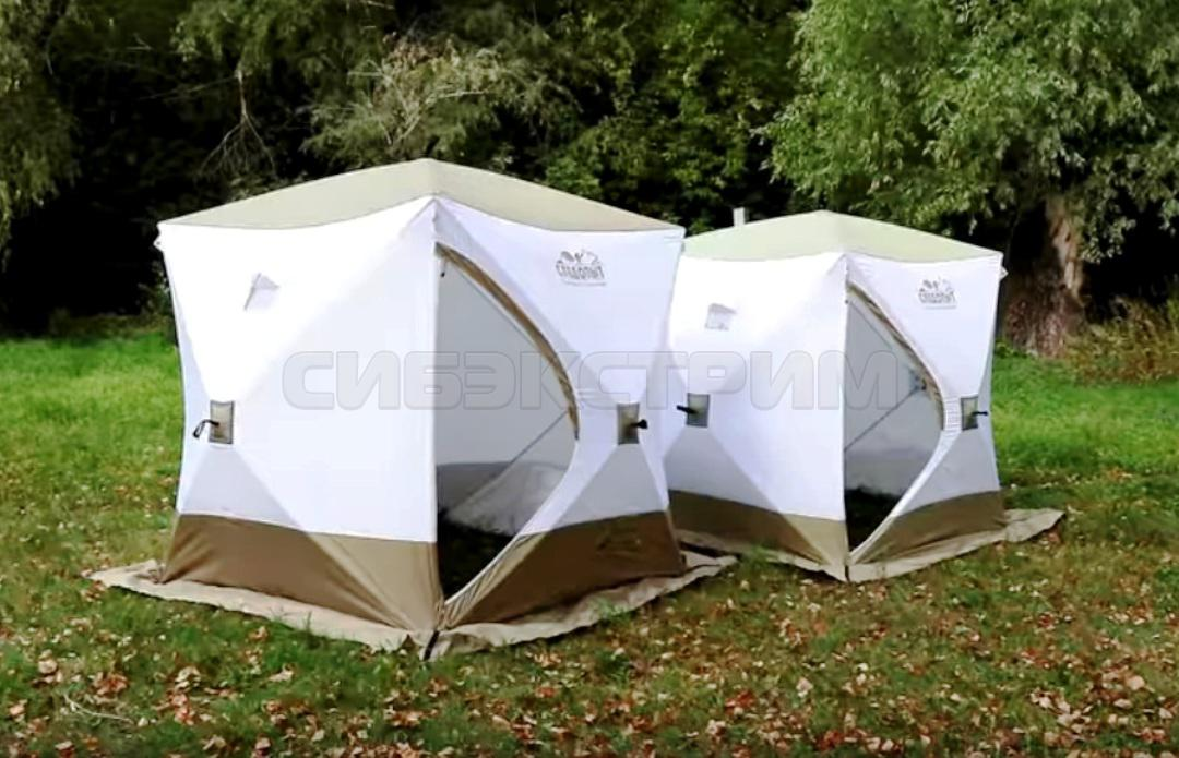 Палатка зимняя куб СЛЕДОПЫТ Premium 3-х местная 1800х1800 мм 3 слоя цвет белый-олива