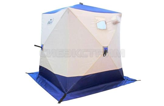 Палатка зимняя куб СЛЕДОПЫТ 1500 х1500 мм Oxford 210D PU 1000, 2-местная цвет  бело-синий