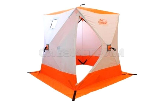 Палатка зимняя куб СЛЕДОПЫТ 1500 х1500 мм Oxford 240D PU 2000, 2-местная, цвет бело-оранжевый