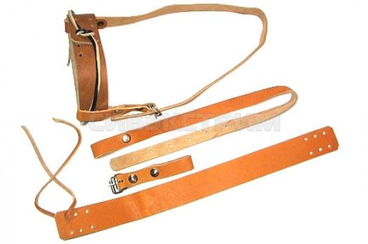 Крепление для лыж Охотничье кожа с ремнями 40 мм КМ 009