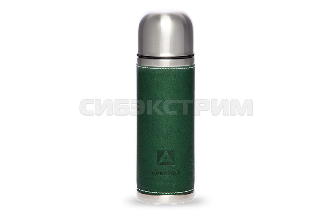 Термос АРКТИКА 108-500 0,5л узкое горло с кожаной вставкой, зеленый
