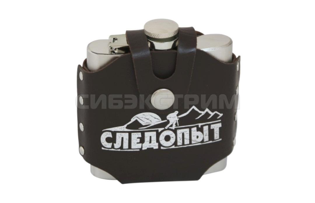 Фляжка СЛЕДОПЫТ-Freezly в кожаном чехле 180мл