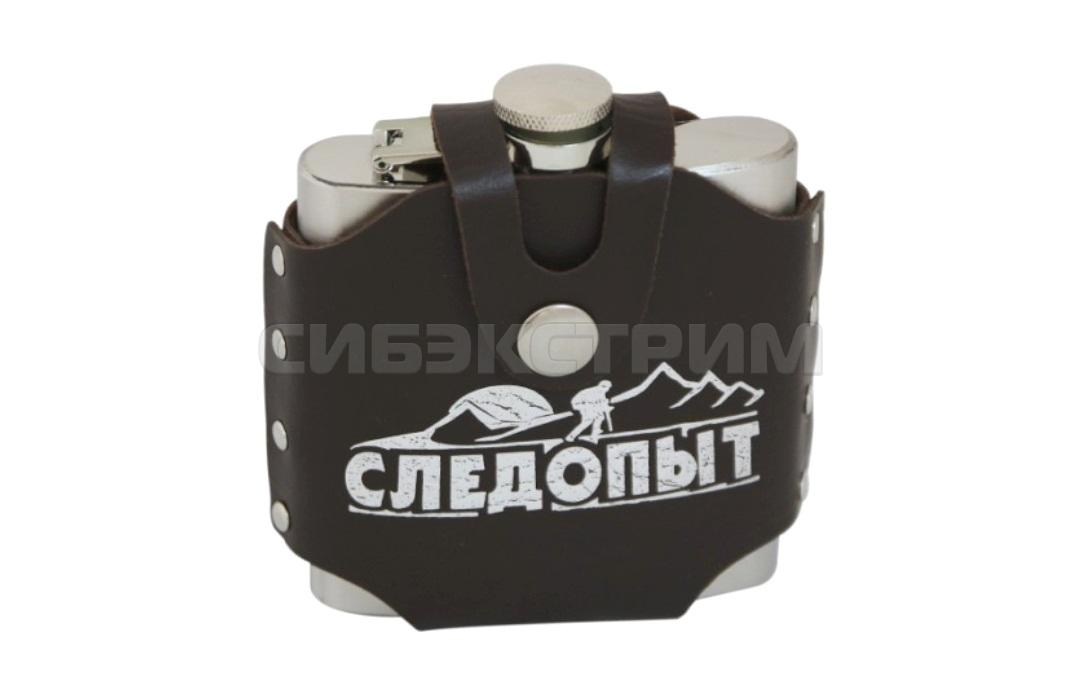 Фляжка СЛЕДОПЫТ-Freezly в кожаном чехле 210мл