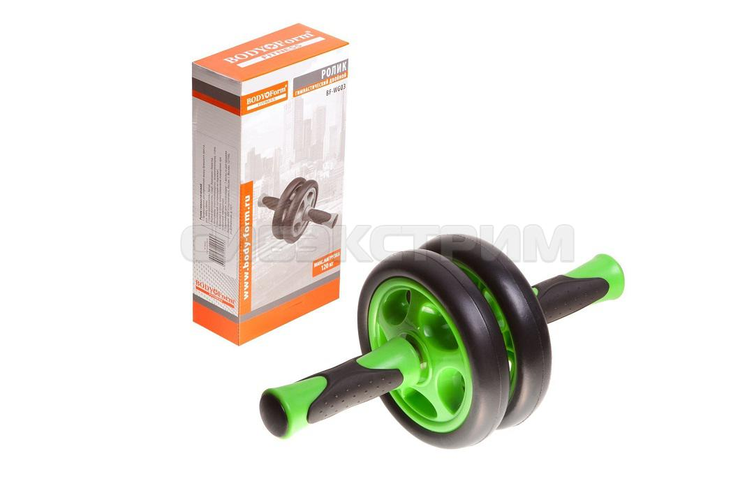 Ролик гимнастический Body Form BF-WG03, черно-зеленый