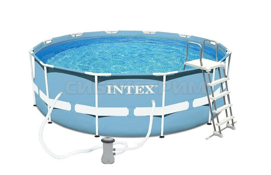 Каркасный бассейн Intex Prism Frame 366х99 см, фильтр-насос, лестница