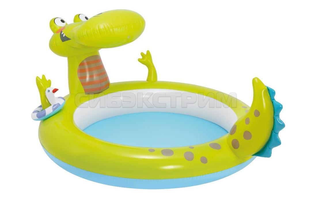 Бассейн INTEX Крокодил, со спреем 198х160х91 см