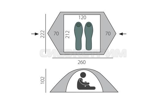 Палатка BTrace Micro, 222x260x102 см, зеленый