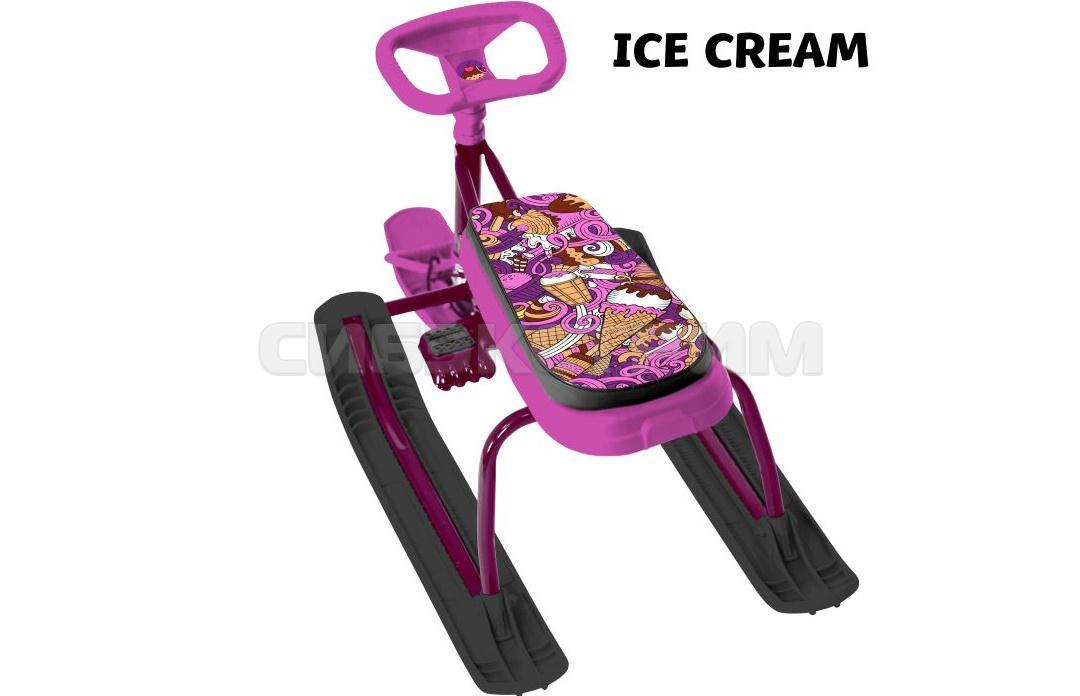 Снегокат ТЯНИ-ТОЛКАЙ+100 с удлиненным сидением с рулеткой Ice Cream