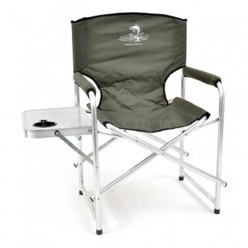 Кресло КЕДР складное  со столиком с подстаканником алюминий AKS-07
