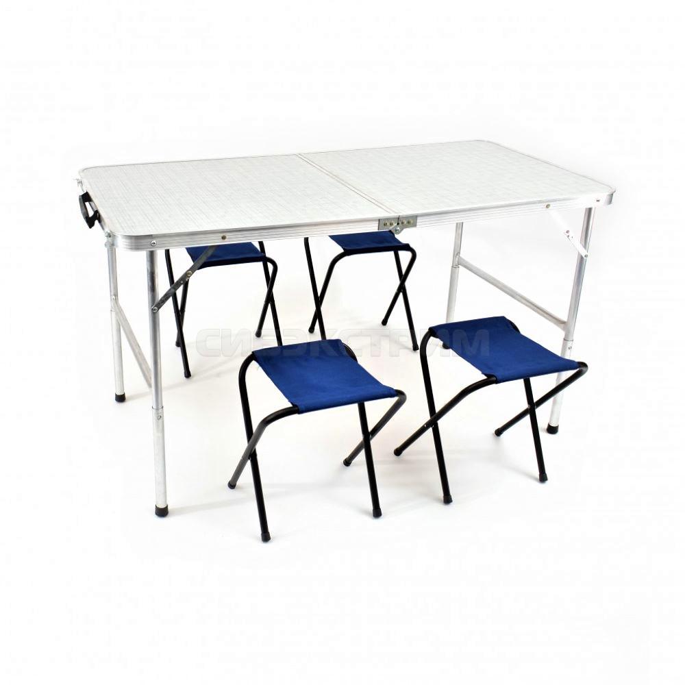 Набор КЕДР Стол складной, влагозащищенный 60 х 120 см. и 4 табурета TABS-04