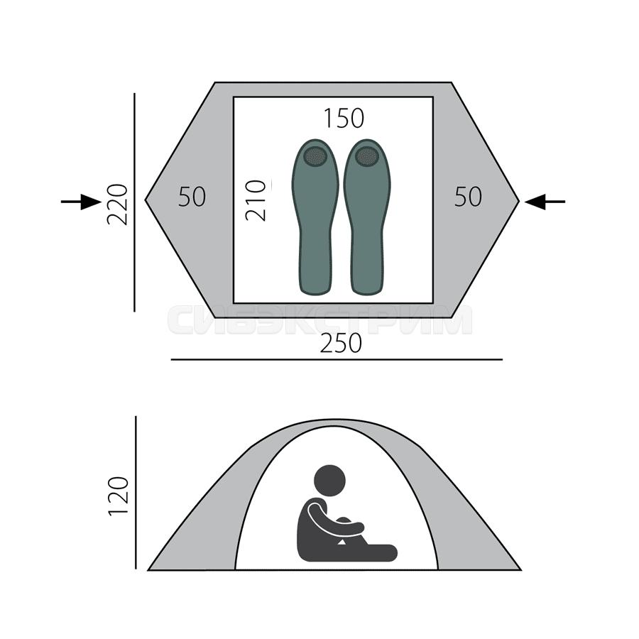 Палатка BTrace Ion 2+, зеленый