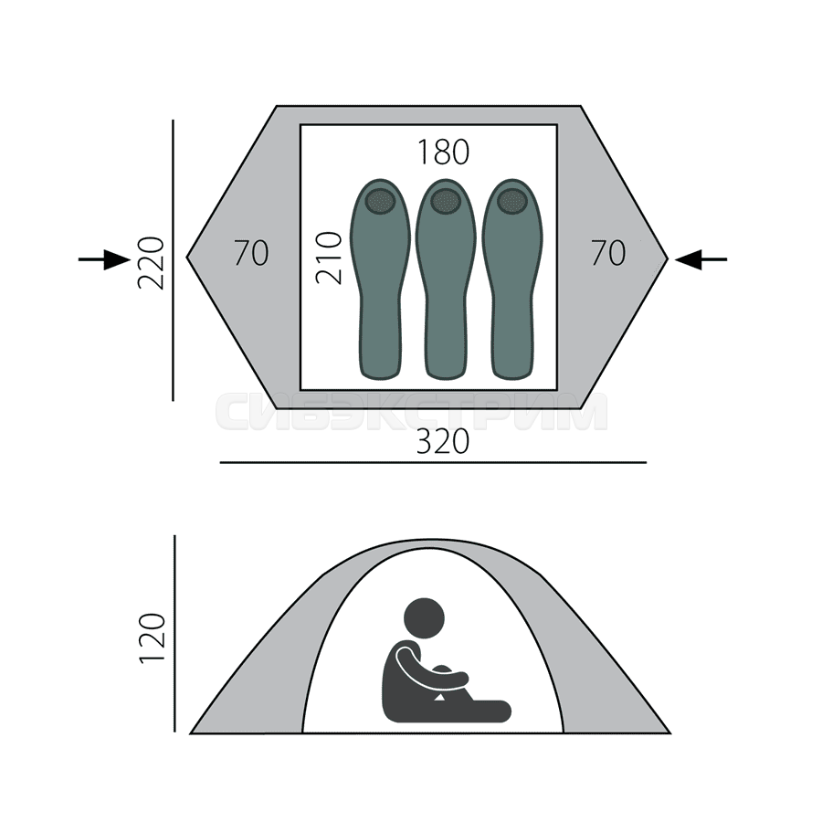 Палатка BTrace Ion 3, зеленый