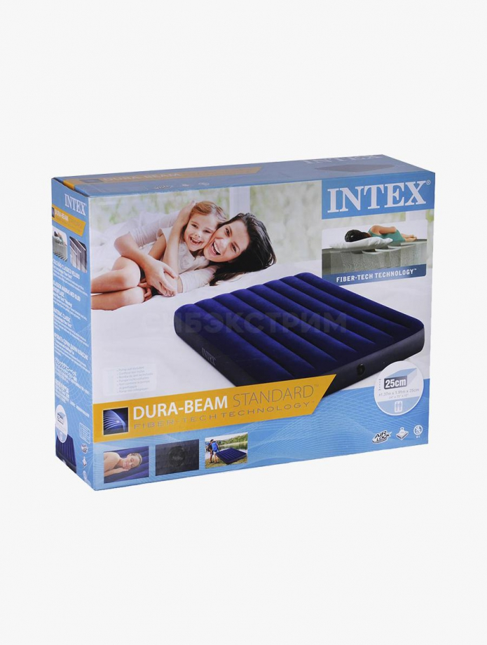 Надувной матрас Intex Classic Downy Fiber-Tech, 137х191х25см