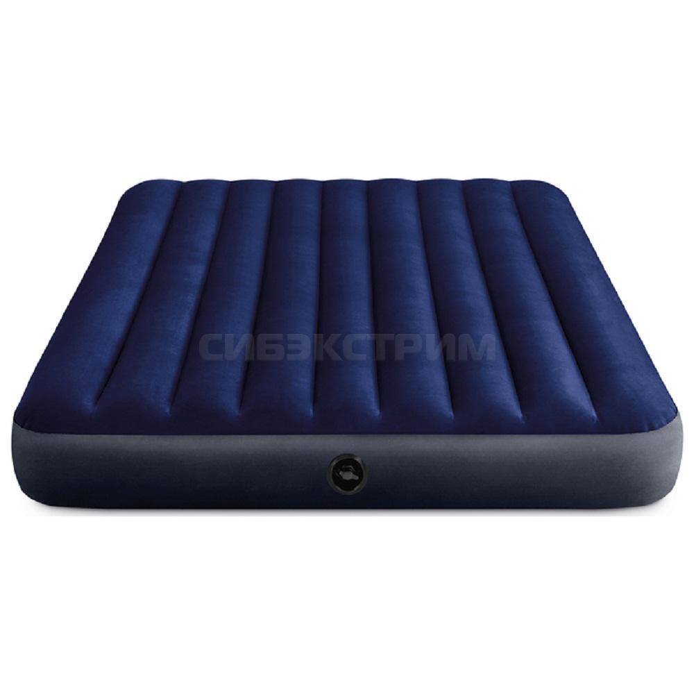 Надувной матрас Intex Classic Downy Fiber-Tech, 152х203х25см + 2 подушки и насос