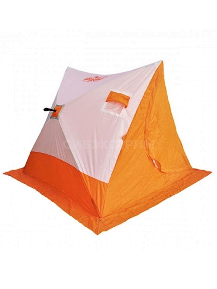 Палатка зимняя СЛЕДОПЫТ 2-скатная, Oxford 210D PU 1000 цвет бело-оранжевый