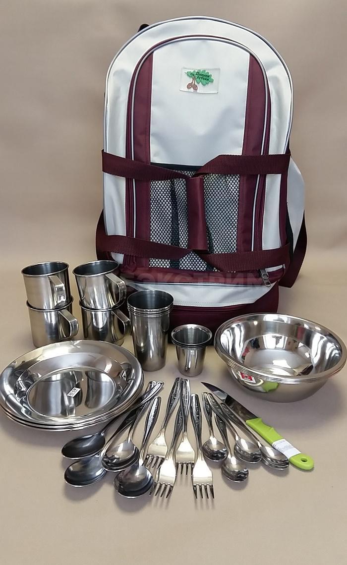 Набор посуды для пикника 555 Рюкзак-сумка на 4 персоны