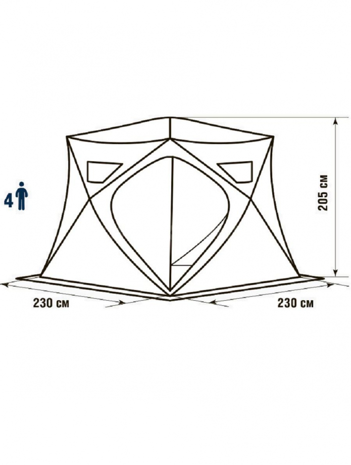 Палатка зимняя HIGASHI Pyramid 230 х 230 х 200 см.