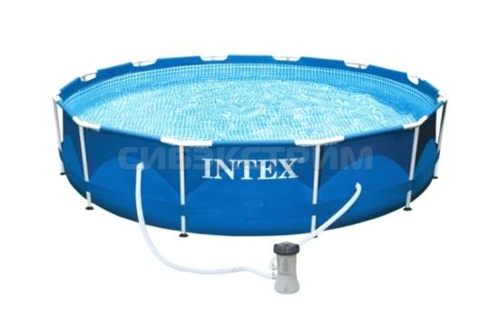 Каркасный бассейн Intex Metal Frame насос с фильтром 220V 305x76