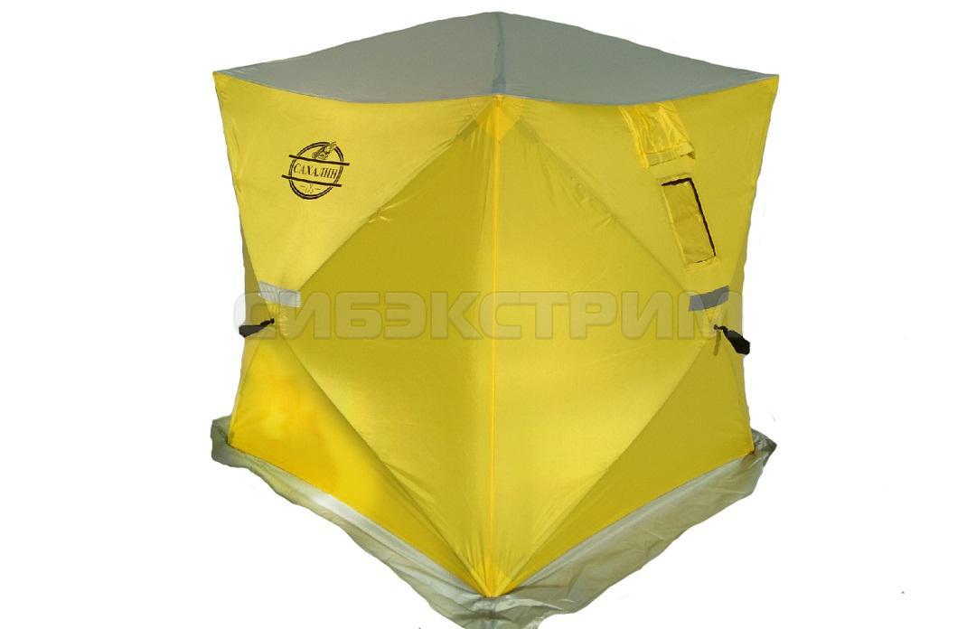 Палатка зимняя куб Сахалин 2 1500 х1500 х1700 мм. цвет желтый