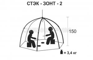 Палатка рыбака Стэк 2 полуавтомат Классика дышащая